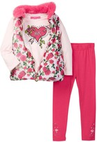 Betsey Johnson Floral Puffy Vest, Tee, & Legging Set (Toddler Girls)