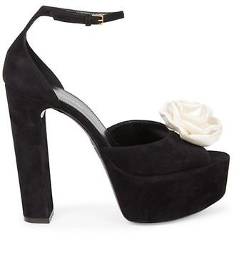 Saint Laurent Jodie Floral-Applique Suede Platform Sandals