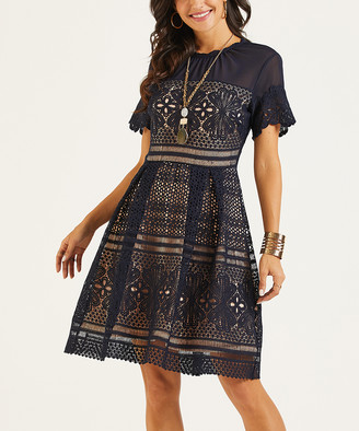 Suzanne Betro Dresses Women's Casual Dresses 101Navy - Navy Lace-Overlay Short Sleeve Fit & Flare Dress - Women & Plus