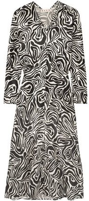 Marni Printed Satin Midi Dress