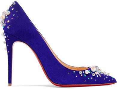 Christian Louboutin Candidate 100 Embellished Suede Pumps - Purple