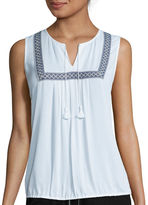 Liz Claiborne Sleeveless Bib Front White Shell Top - Tall