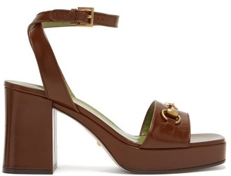 Gucci Houdan Horsebit Leather Platform Sandals - Dark Brown