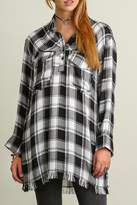 Umgee USA Popover Plaid Tunic