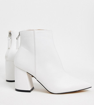 Raid Wide Fit Wynter heeled ankle boots in white