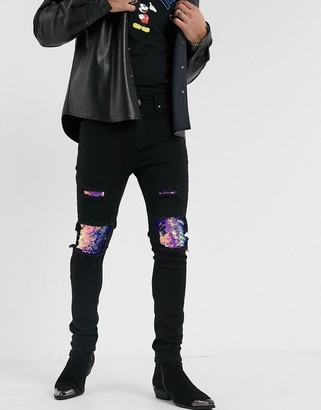 One Above Another skinny jean with knee rips and blue sequin-Black