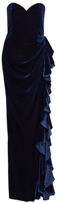 Badgley Mischka Velvet Ruffle Strapless Column Gown