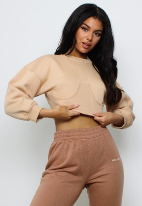Missguided Petite Tan Corset Sweatshirt