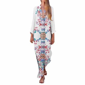 Abuyall Long Sleeve Kaftan Maxi Dress for Women Cotton and Linen Print Tunics WTD M