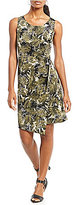 Jones New York Faux Wrap Draped Side Tie Palm Leaf Print Dress