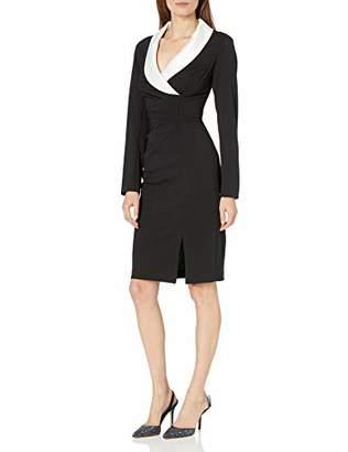 Adrianna Papell Women's Long Sleeve Blazer Dress with Draped Bodice