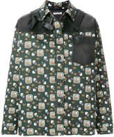 Miu Miu floral-print leather-trimmed jacket