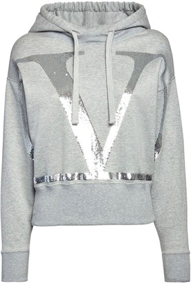 Valentino Go Logo Sequined Jersey Cropped Hoodie