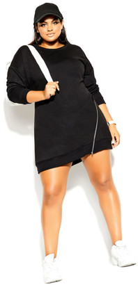 City Chic Side Zip Dress - black