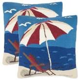 Safavieh Beach Lounge Throw Pillows in Marine/Red (Set of 2)