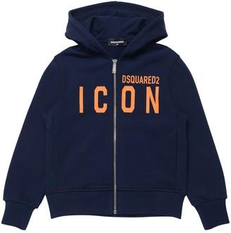 DSQUARED2 Icon Print Cotton Sweatshirt Hoodie