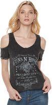 Rock & Republic Women's Guns N' Roses Cold-Shoulder Tee