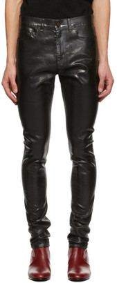 Saint Laurent Black Oily Coated Skinny Jeans