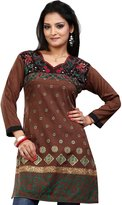 Maple Clothing Indian Kurti Top Tunic Embroidered Womens Blouse India Clothes (, L)