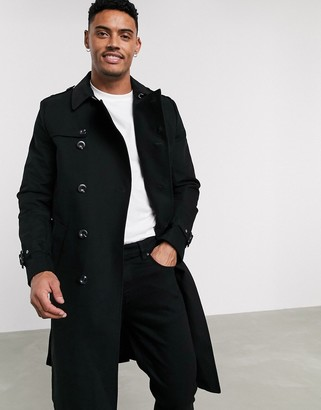 Asos Design DESIGN shower resistant longline trench coat with belt in black