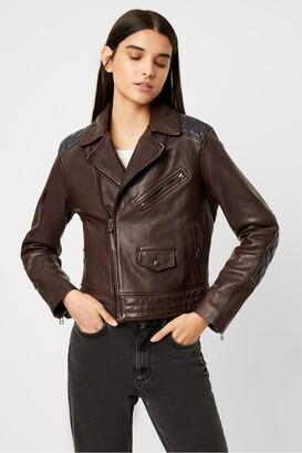 French Connection Adi Adela Leather Biker Jacket