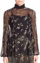 Suno Women's Plaid Mohair Sequined Silk Tunic