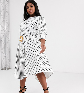Asos DESIGN Curve printed midi tea dress with asymmetric skirt and woven buckle