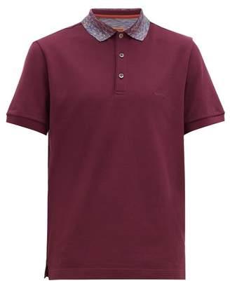 Missoni Space-dyed Collar Cotton-pique Polo Shirt - Mens - Burgundy