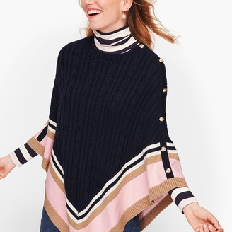 Talbots Colorblock Cableknit Poncho
