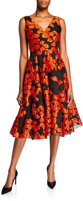 Lela Rose Floral Brocade V-Neck Dress