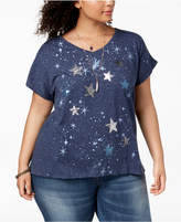 Style&Co. Style & Co Plus Size Sequined Graphic-Print T-Shirt, Created for Macy's