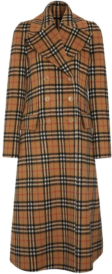 Burberry Vintage Check Alpaca Wool Tailored Coat