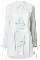 J.W.Anderson ruffle front striped blouse - women - Silk/Mother of Pearl - 8