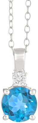14K White Gold Round Gemstone Pendant w/ Chain