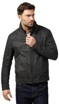 Mantaray Big And Tall Dark Grey Waxed Biker Jacket