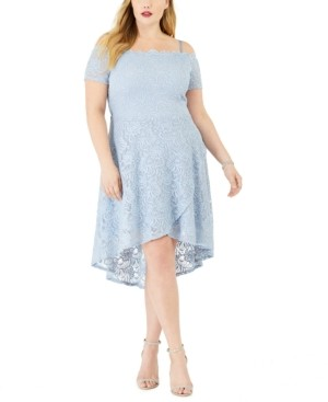 City Studios Trendy Plus Size Off-Shoulder Scalloped Dress