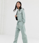 Weekday boiler suit with tie waist in mint