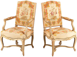 One Kings Lane Vintage Pair of Louis XV Painted Armchairs 1920s - Negrel Antiques