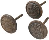 Rejuvenation Set of 3 Victorian Cast Iron Knobs w/ Integral Screws