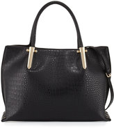 Neiman Marcus Willow Crocodile-Embossed Satchel Bag, Black