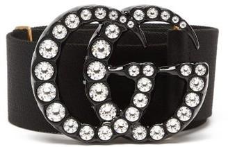 Gucci Crystal-gg Buckle Belt - Black