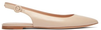 Gianvito Rossi Point-toe Leather Slingback Flats - Womens - Beige