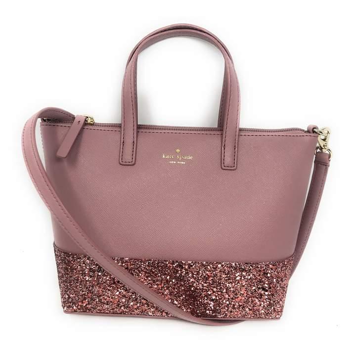 Kate Spade Ina Greta Court Glitter Crossbody Bag Top Handle Handbag Dusty Peony