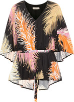 Emilio Pucci Cape-back Silk-paneled Printed Jersey Blouse - Black