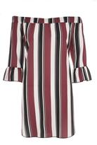 Quiz Wine Cream And Black Stripe Bardot Tunic Dress
