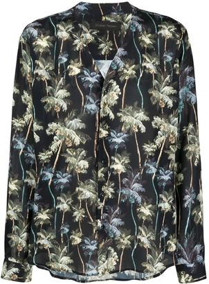 Christian Pellizzari Palm Tree Print Collarless Shirt