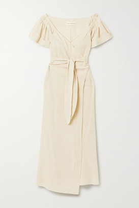 Mara Hoffman Adelina Organic Cotton And Linen-blend Wrap Midi Dress - Sand