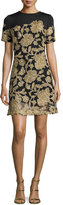 Tadashi Shoji Short-Sleeve Embroidered Cocktail Dress, Black/Gold