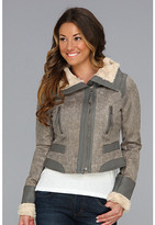 Members Only Wing Collar Faux Shearling Jacket