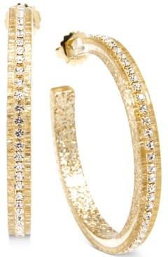"Zenzii Gold-Tone Medium Crystal-Embellished Colored Open Hoop Earrings, 2"""